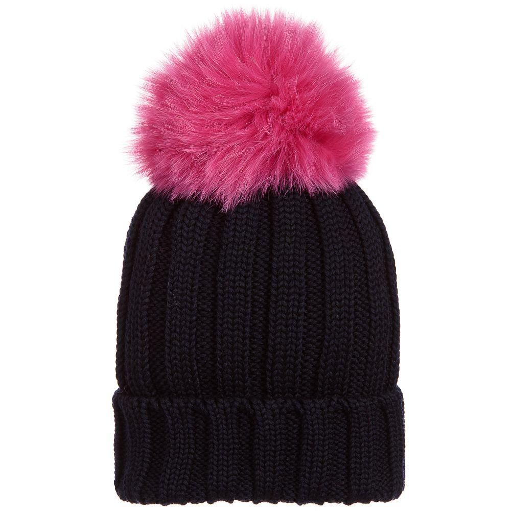 Catya - Blue Wool   Fur Pom-Pom Hat  99c8f3dd327
