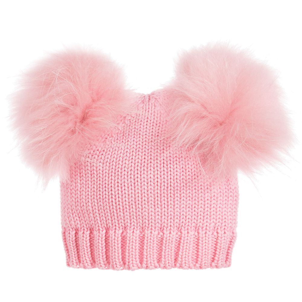 55b5799fe6a Catya - Girls Fur Pom-Pom Wool Hat