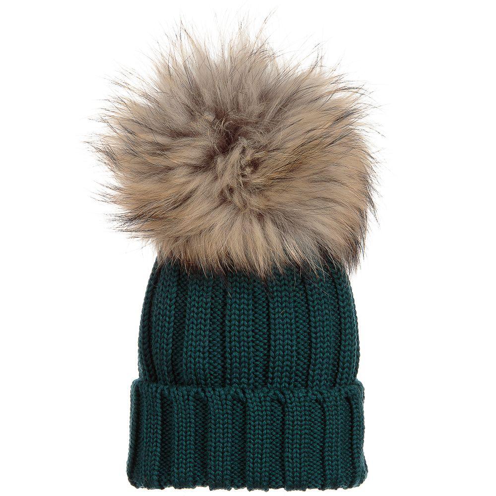 180928b0ba563c Catya - Green Wool & Fur Pom-Pom Hat | Childrensalon