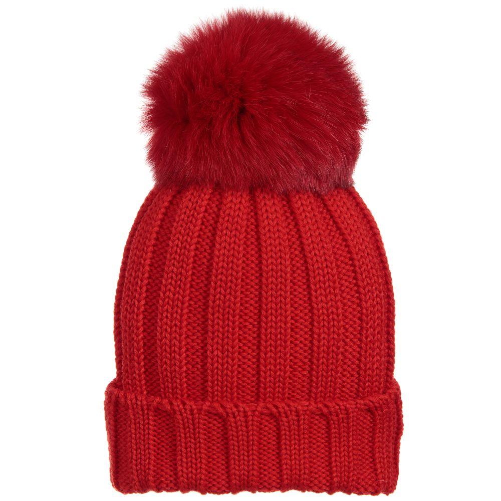 ebdfd4e8d16 Catya - Red Wool   Fur Pom-Pom Hat