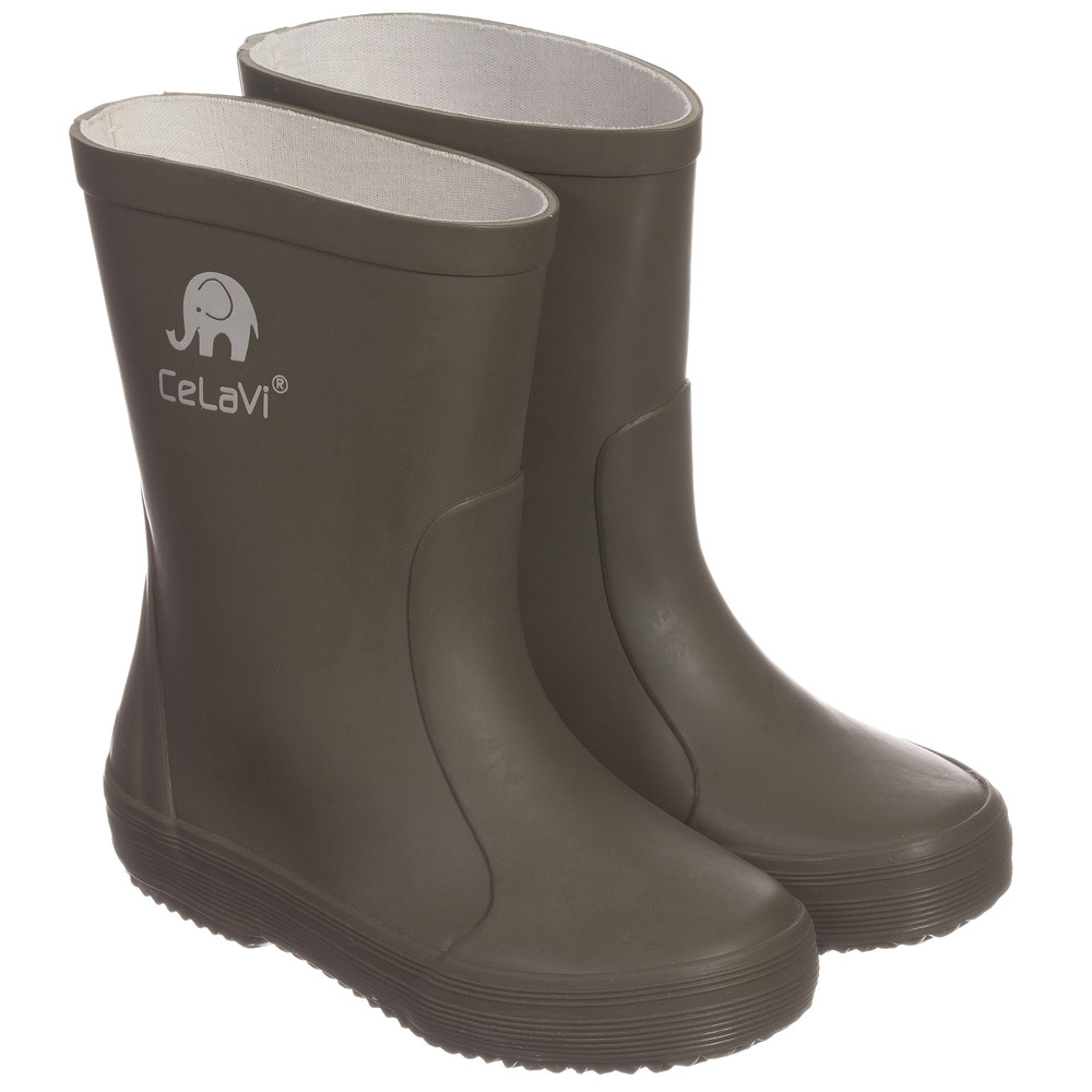 CeLaVi - Khaki Green Rain Boots | Childrensalon