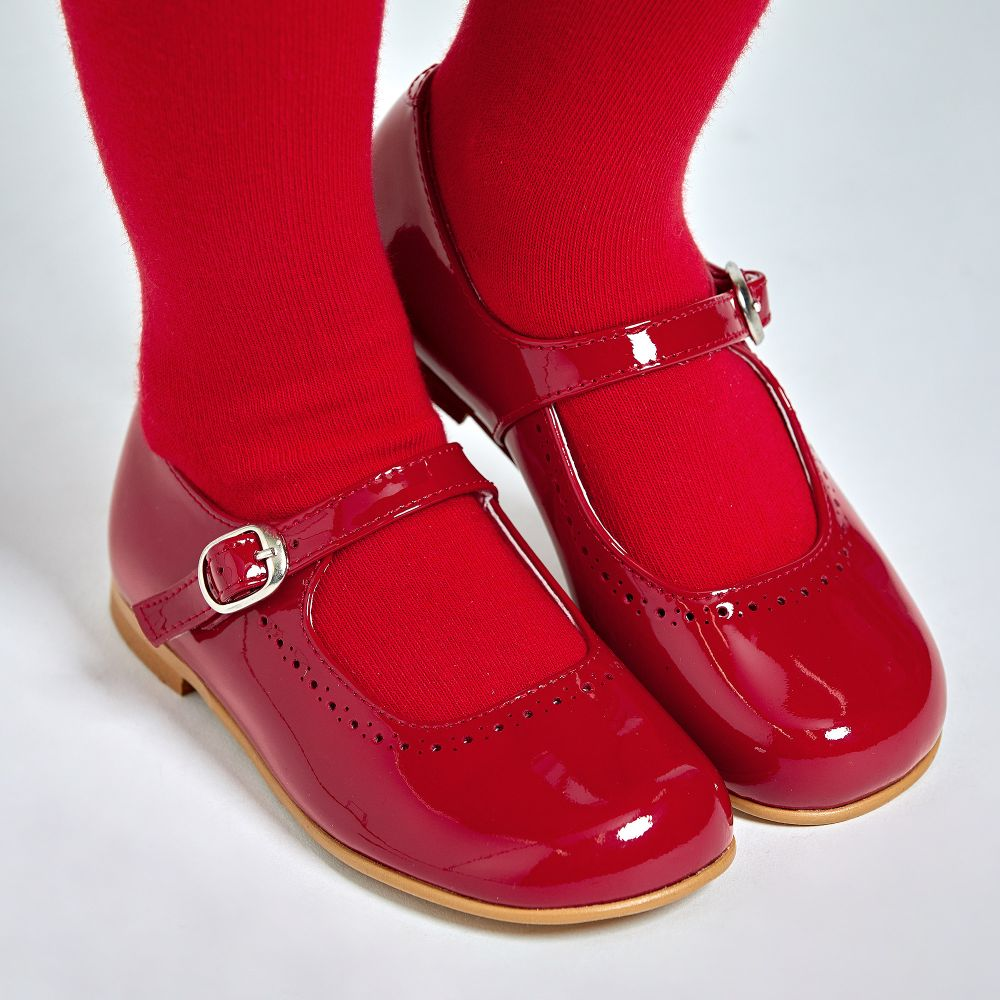 Petasil Childrens Girls Joana Mary Jane Leather Shoes Red Patent