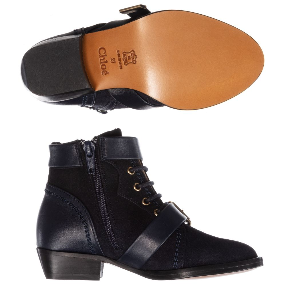 3edb7a99bf Girls Blue Suede Ankle Boots