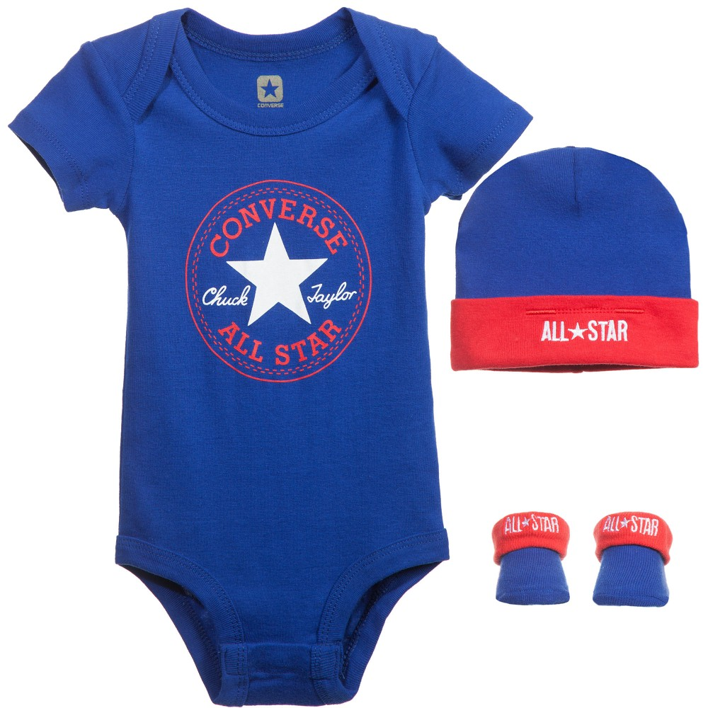 Converse - Baby Boys Blue & Red Bodyvest Set (3 Piece) | Childrensalon
