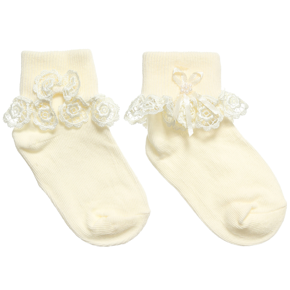 Girls Ivory Lace Socks