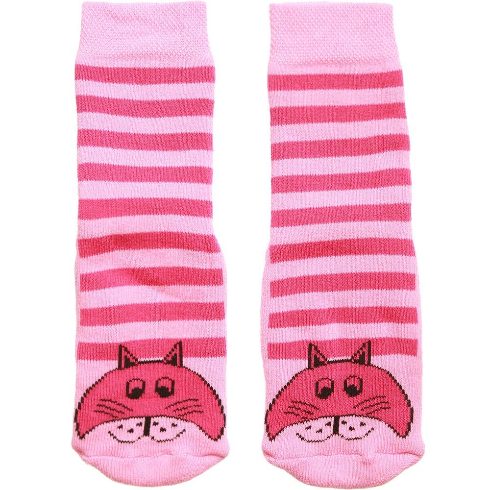 Country Kids - Pink Striped Cat Slipper Socks | Childrensalon
