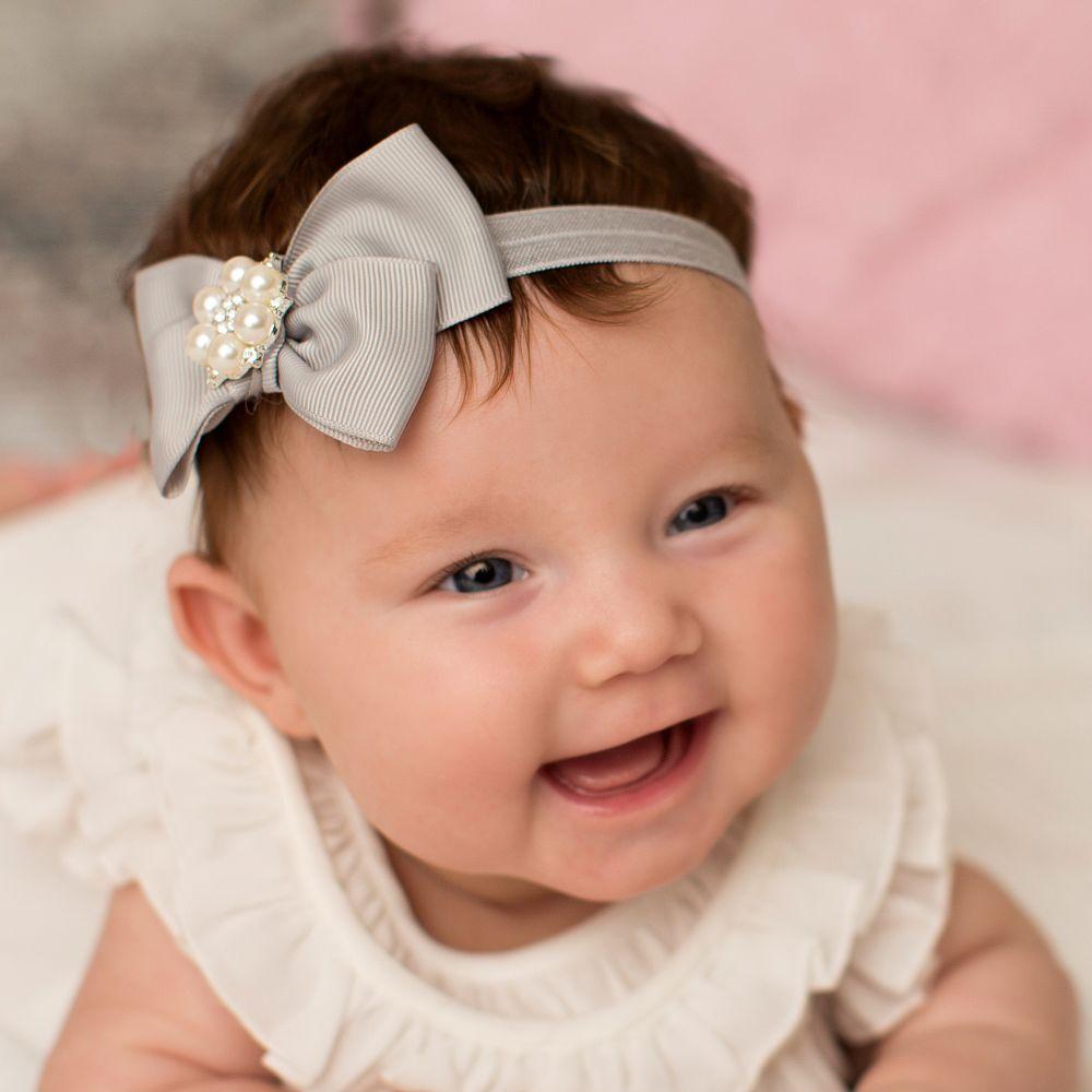 Cute Cute - Grey Ribbon Bow Headband    Childrensalon