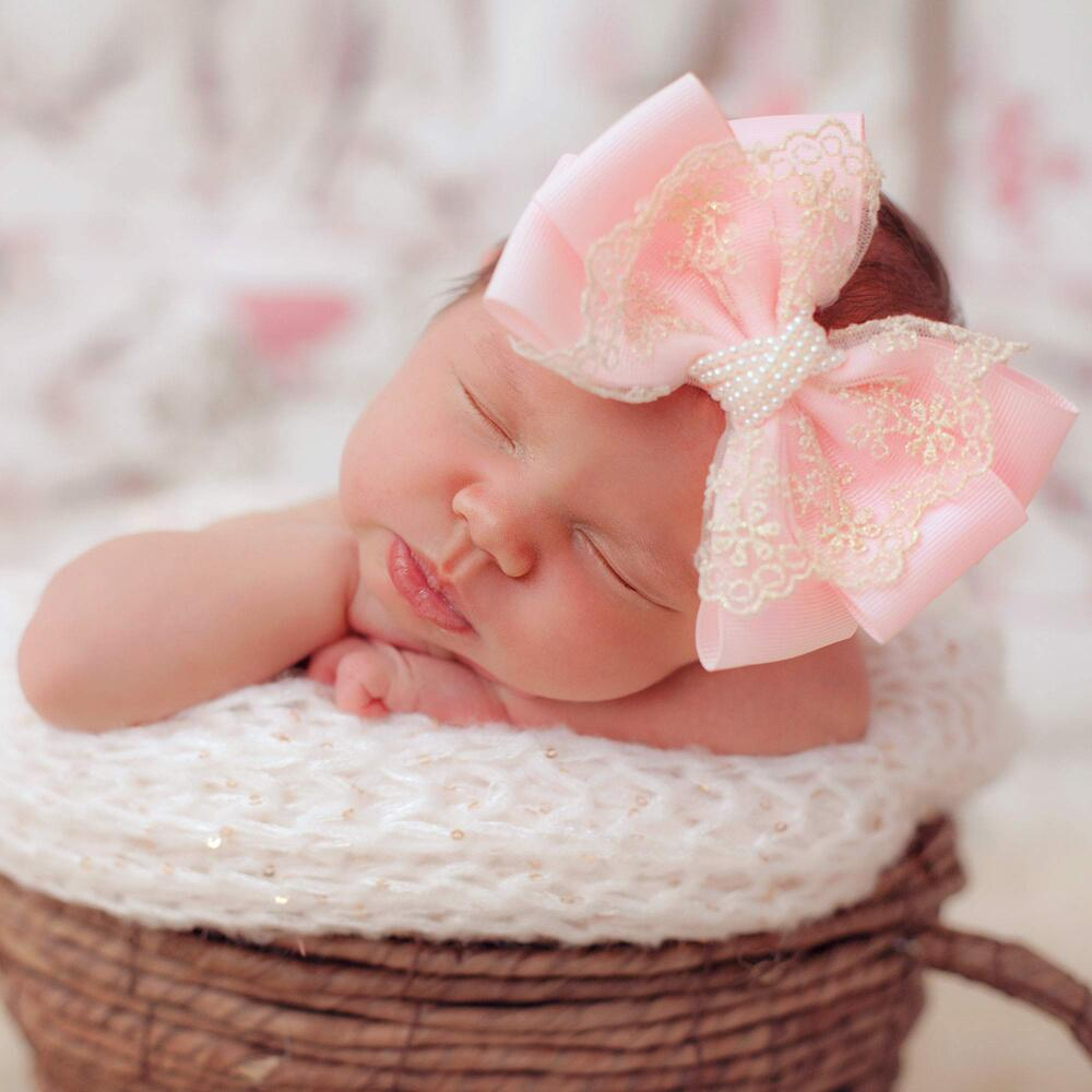 Cute Cute - Large Pink Bow with Gold Lace & Pearls Headband | Childrensalon