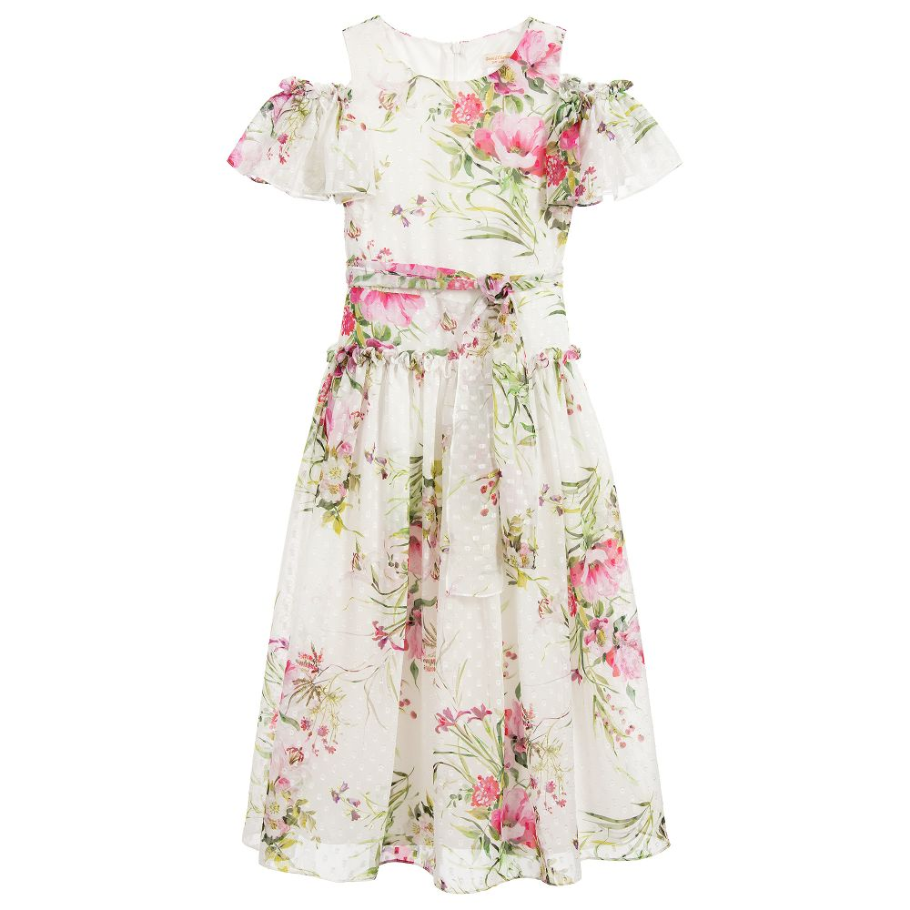 a6e038a18ad David Charles - Girls Long Ivory Chiffon Dress