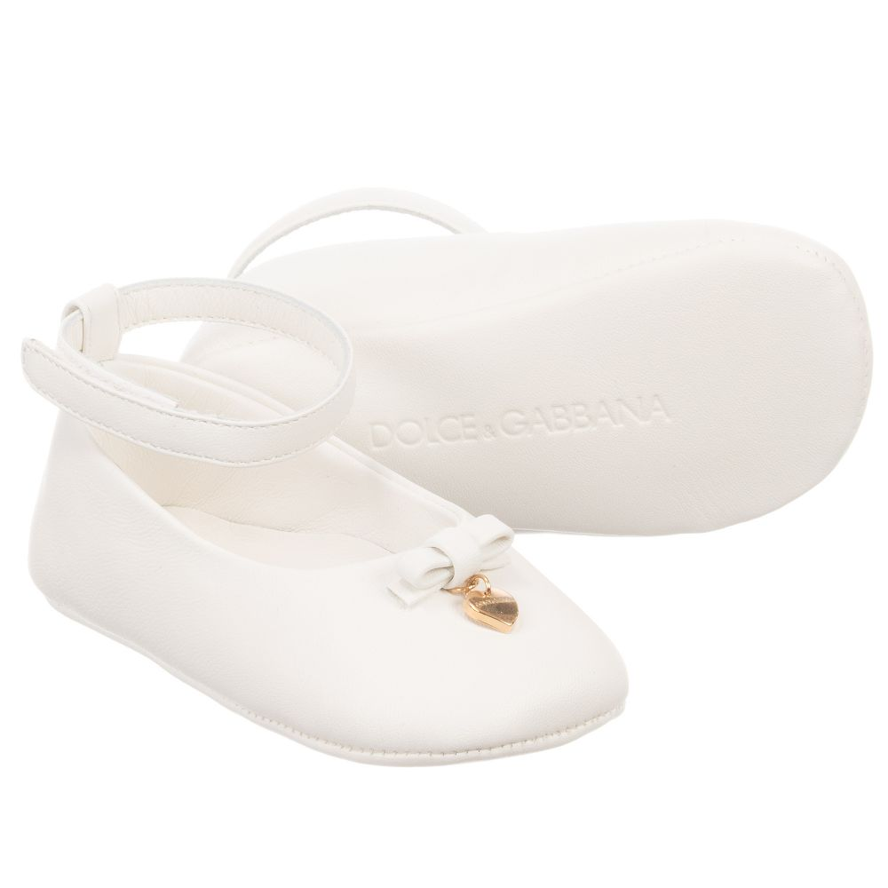 dolce gabbana baby white leather shoes