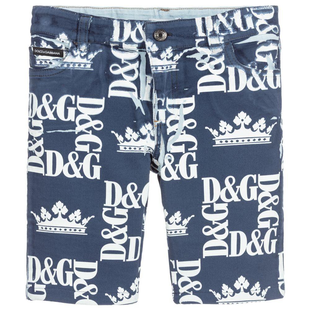 f74fa77e5561c Dolce & Gabbana - Boys Blue Cotton Logo Shorts | Childrensalon