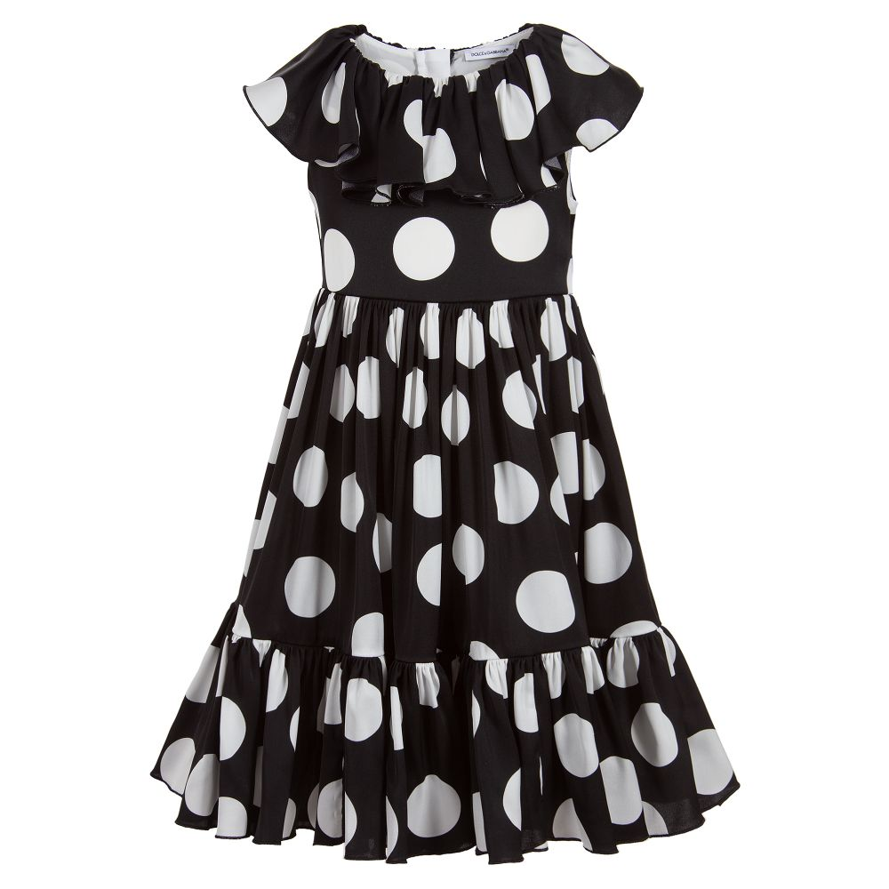6e2469f8f Dolce & Gabbana - Girls Black & White Silk Dress | Childrensalon