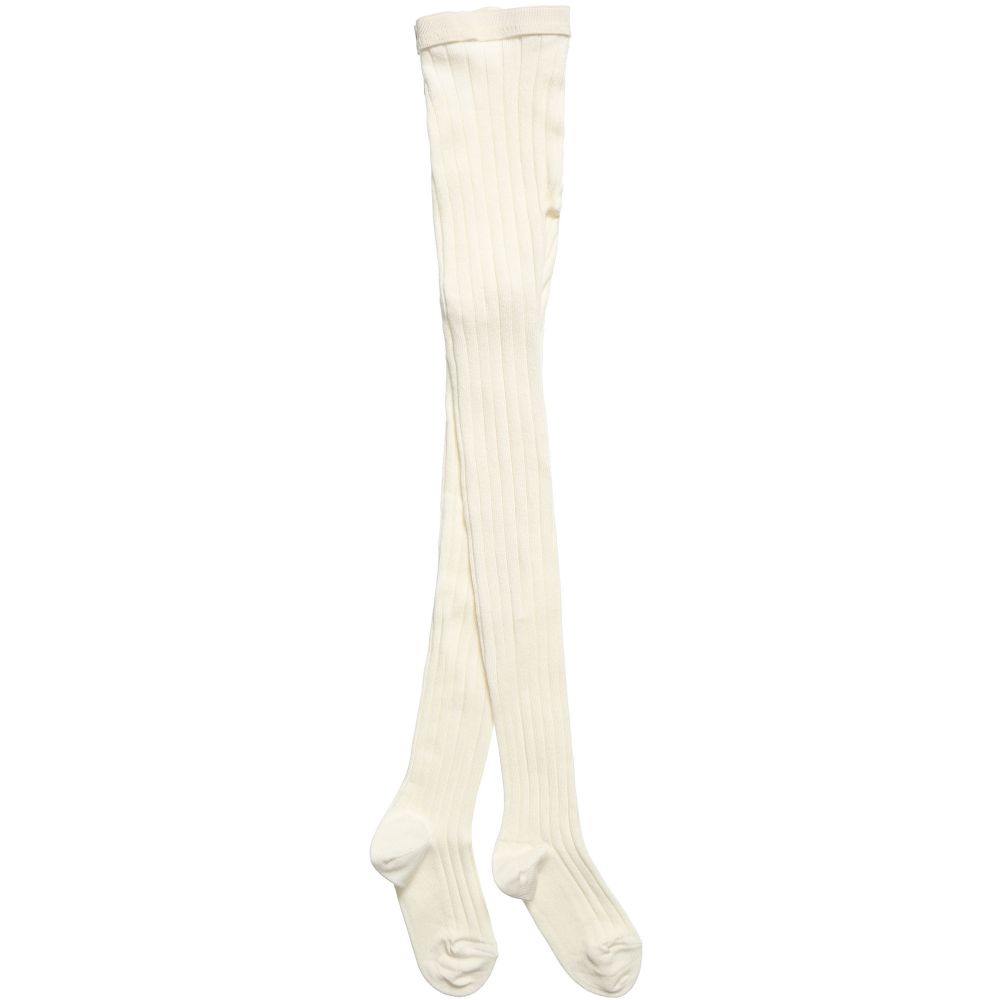 Dore Dore - Luxury Ivory Cotton Ribbed Tights | Childrensalon