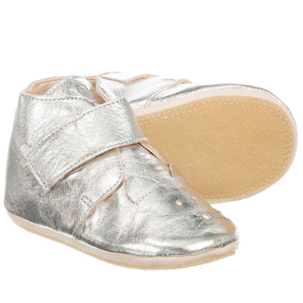 Easy Peasy - Silver Leather Slipper Boots | Childrensalon