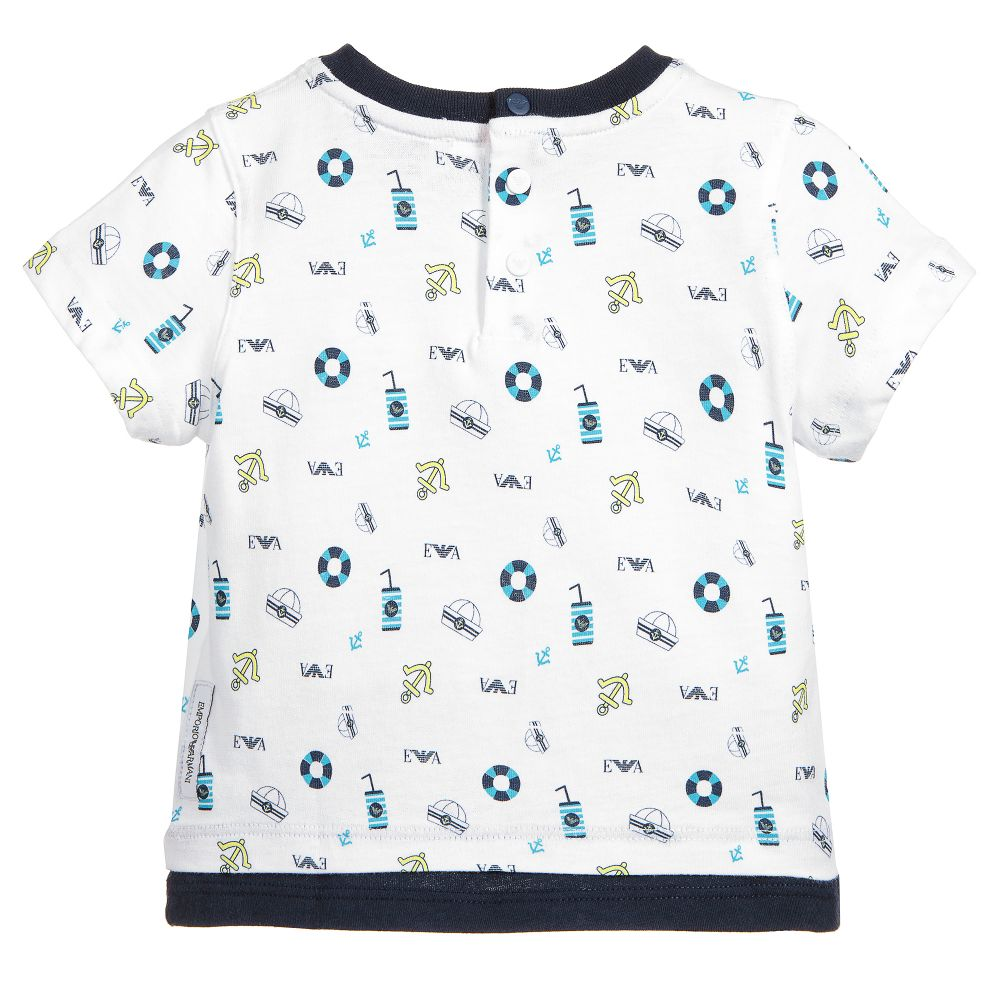 cc9ae618 Emporio Armani - Boys White Cotton T-Shirt | Childrensalon