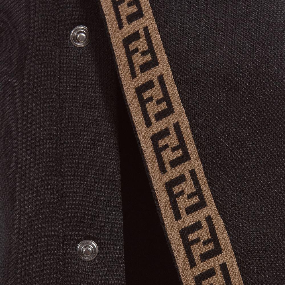 c651f09c1f949a Fendi - Black FF Logo Popper Trousers   Childrensalon