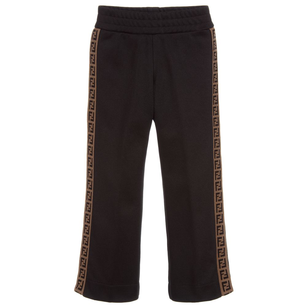c651f09c1f949a Fendi - Black FF Logo Popper Trousers | Childrensalon
