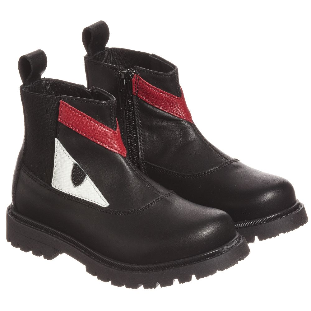 Fendi - Boys Black Monster Boots | Childrensalon
