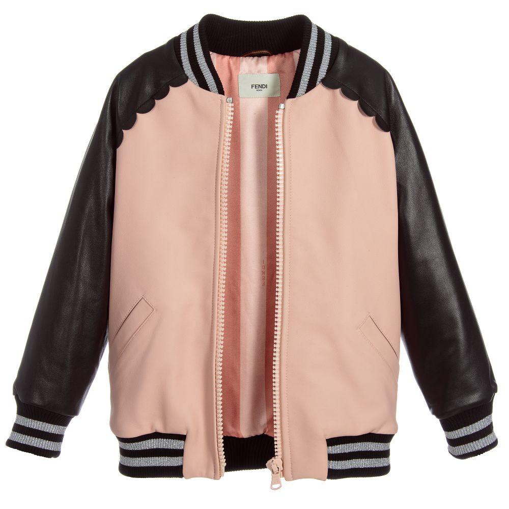 fendi girls pink leather jacket childrensalon