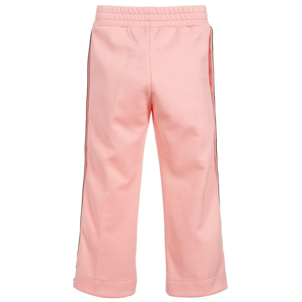 de3825ae6daa56 Fendi - Pink 'FF' Logo Popper Trousers | Childrensalon