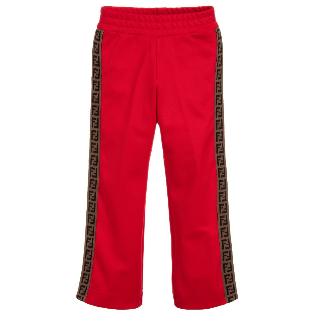 42bf630c478da1 Fendi - Red 'FF' Logo Popper Trousers | Childrensalon