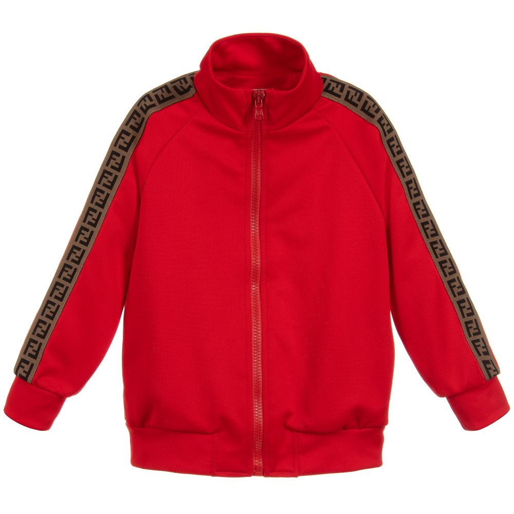 22048235456c Fendi - Red FF Logo Zip-Up Jacket