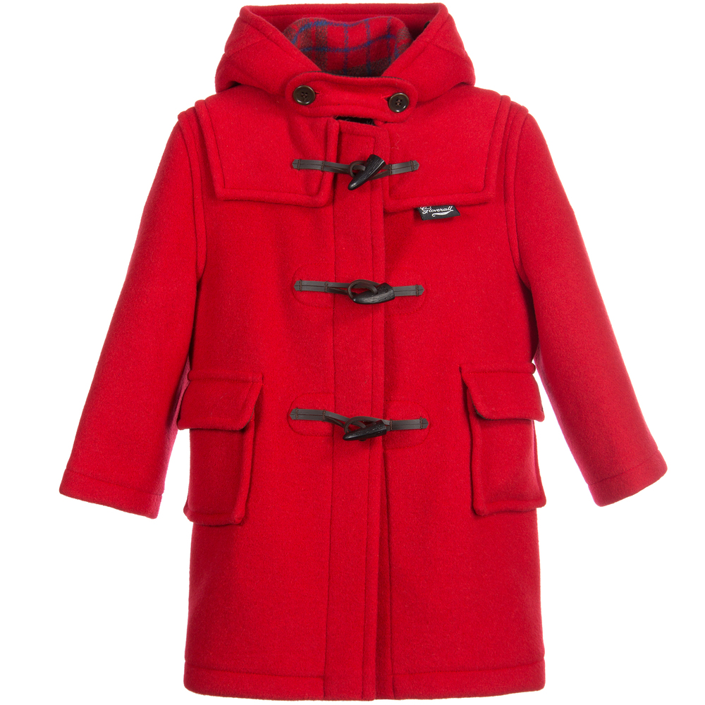 bf235a17500a Gloverall - Red Wool Hooded Duffle Coat