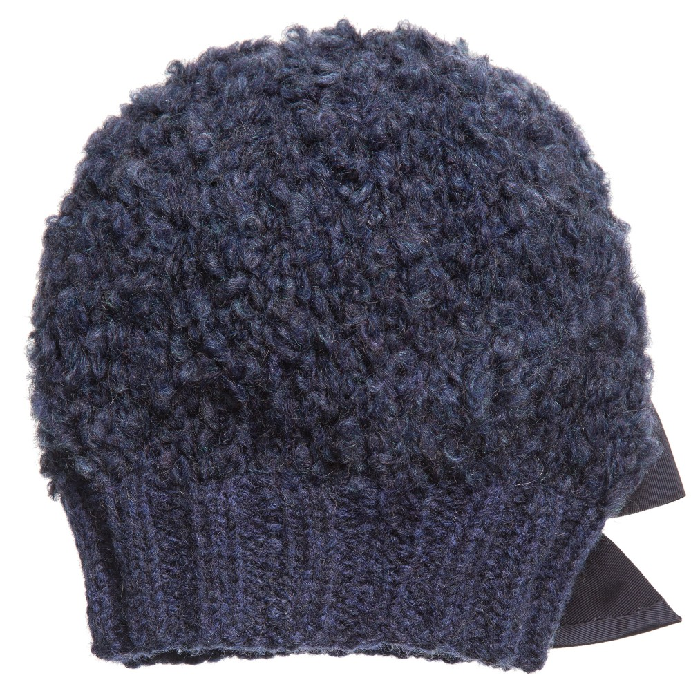 Knitting Pattern For Mohair Hat : Grevi - Girls Blue Mohair Knitted Hat Childrensalon