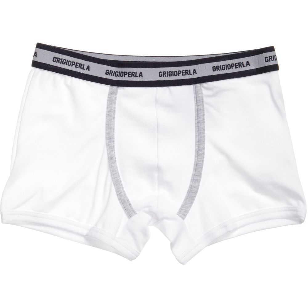 Grigio Perla - Boys White Cotton Boxer Shorts | Childrensalon