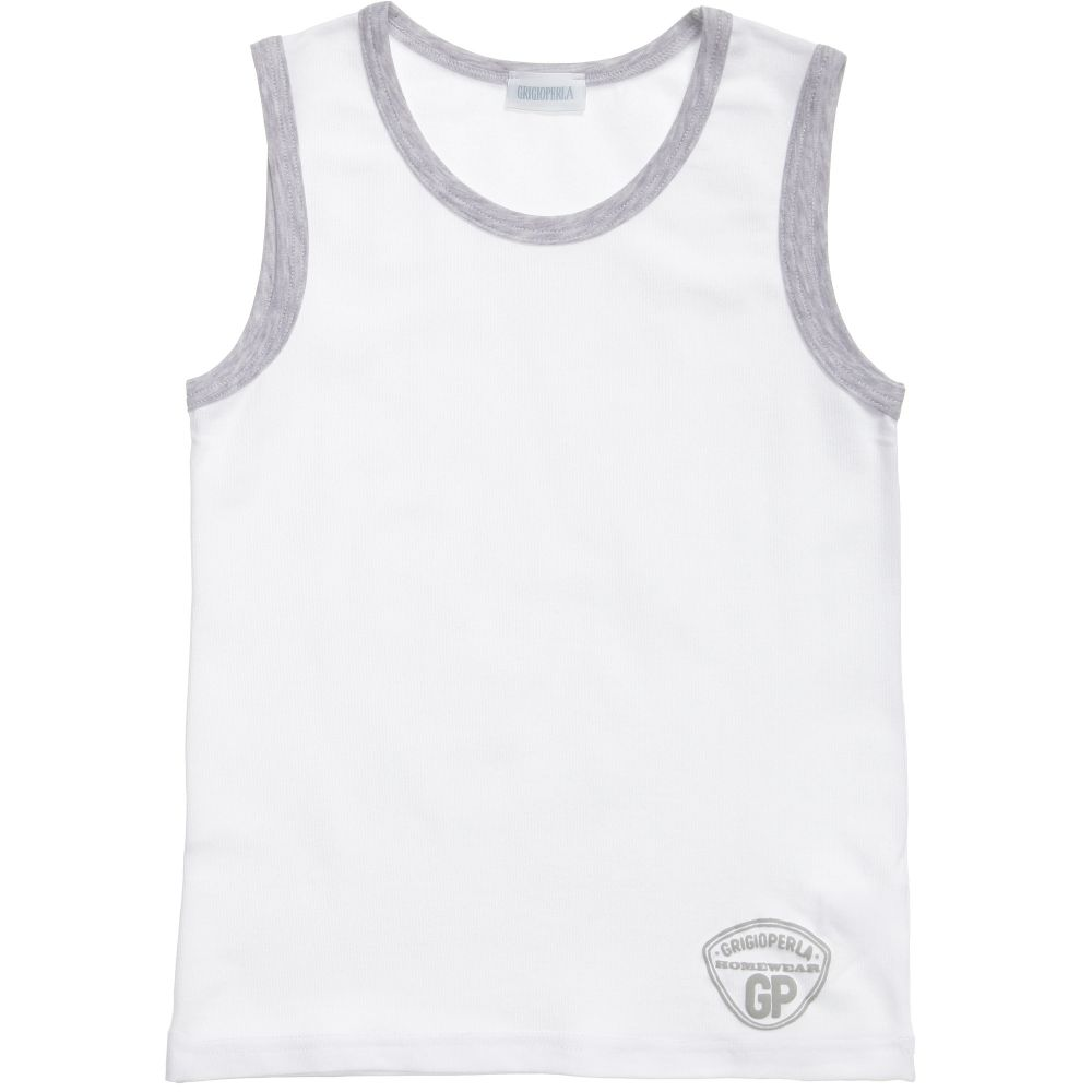 Grigio Perla - Boys White Cotton Vest | Childrensalon