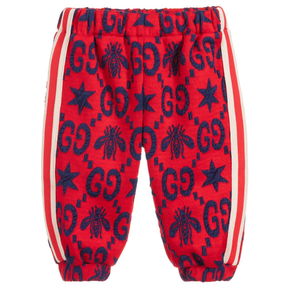 Baby Boys Red Cotton Joggers