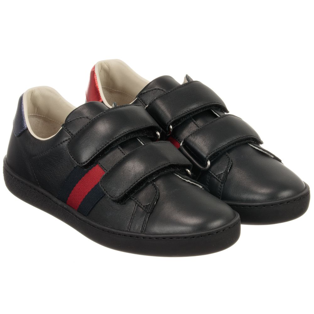 Gucci - Black Leather Velcro Trainers
