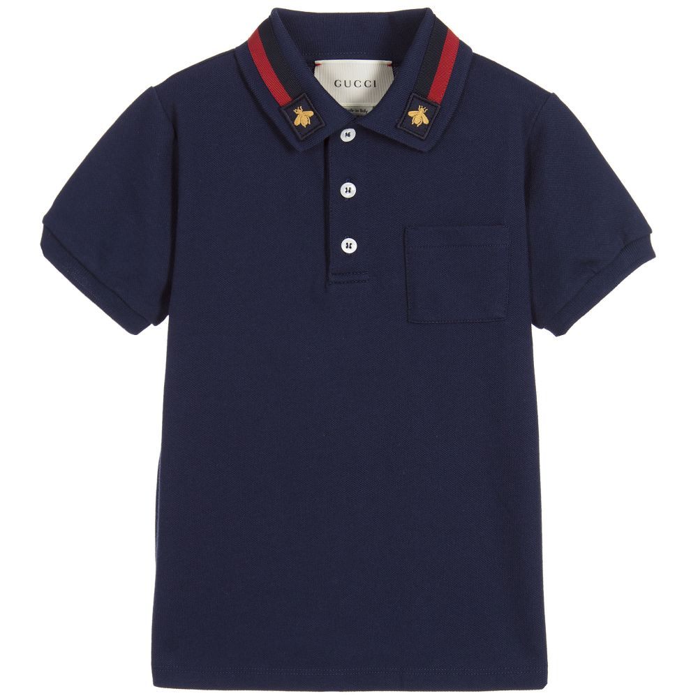 Gucci - Boys Blue Cotton Polo Shirt  | Childrensalon