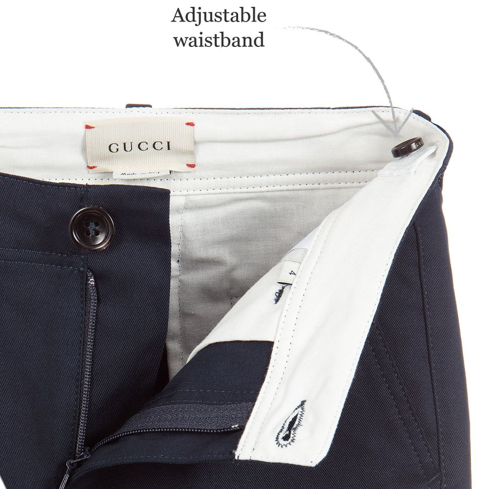 177bc7c00 Gucci - Boys Blue Gabardine Trousers | Childrensalon