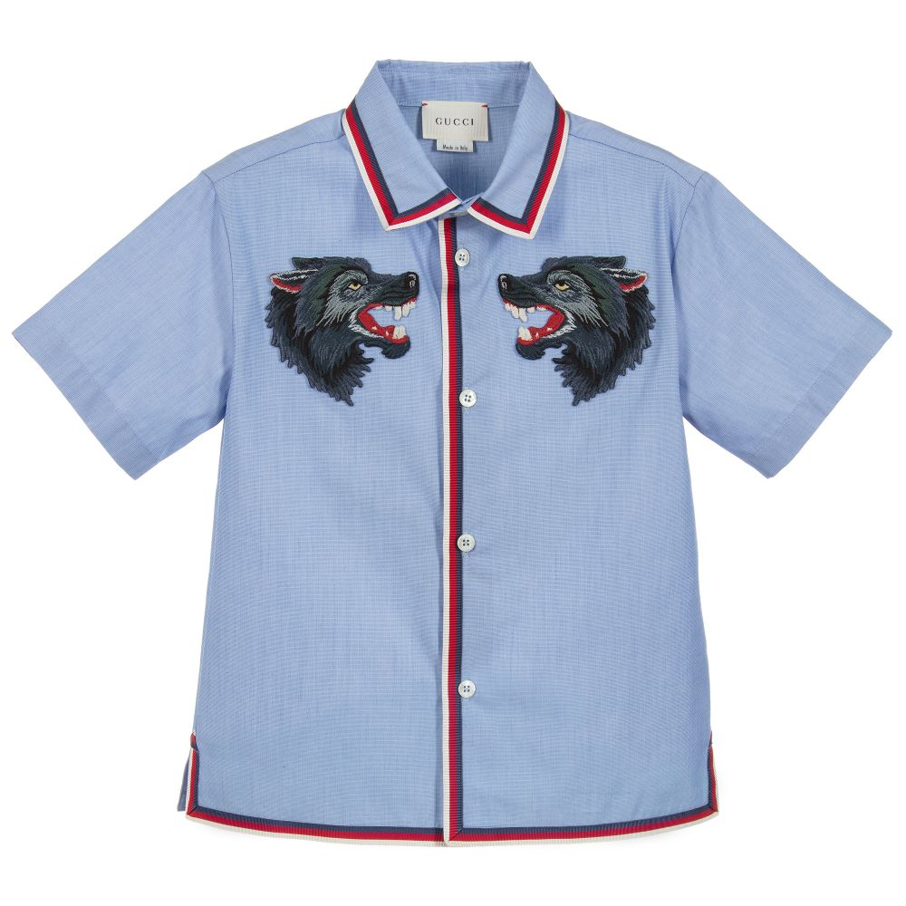 feb029a59 Gucci - Boys Blue Wolves Shirt | Childrensalon