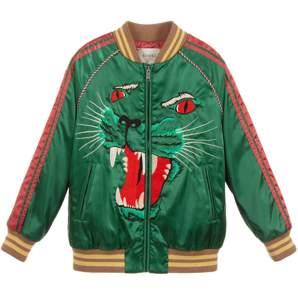 99db56dd4191 Gucci - Boys Green Satin Bomber Jacket