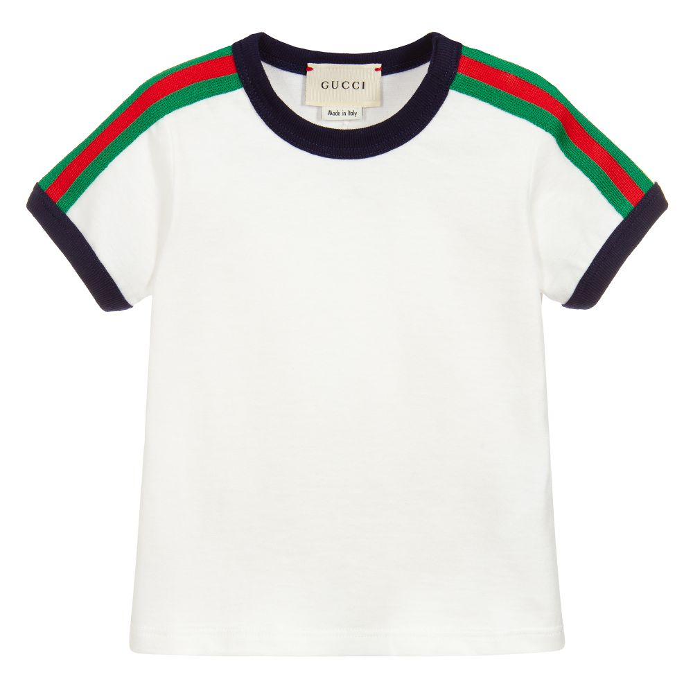 63fe32a2f Gucci - Boys White Cotton T-Shirt | Childrensalon