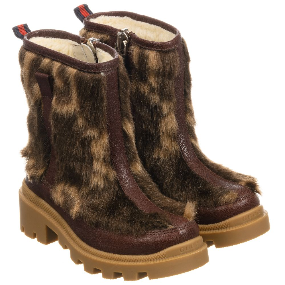 Gucci - Brown Leather \u0026 Faux Fur Boots
