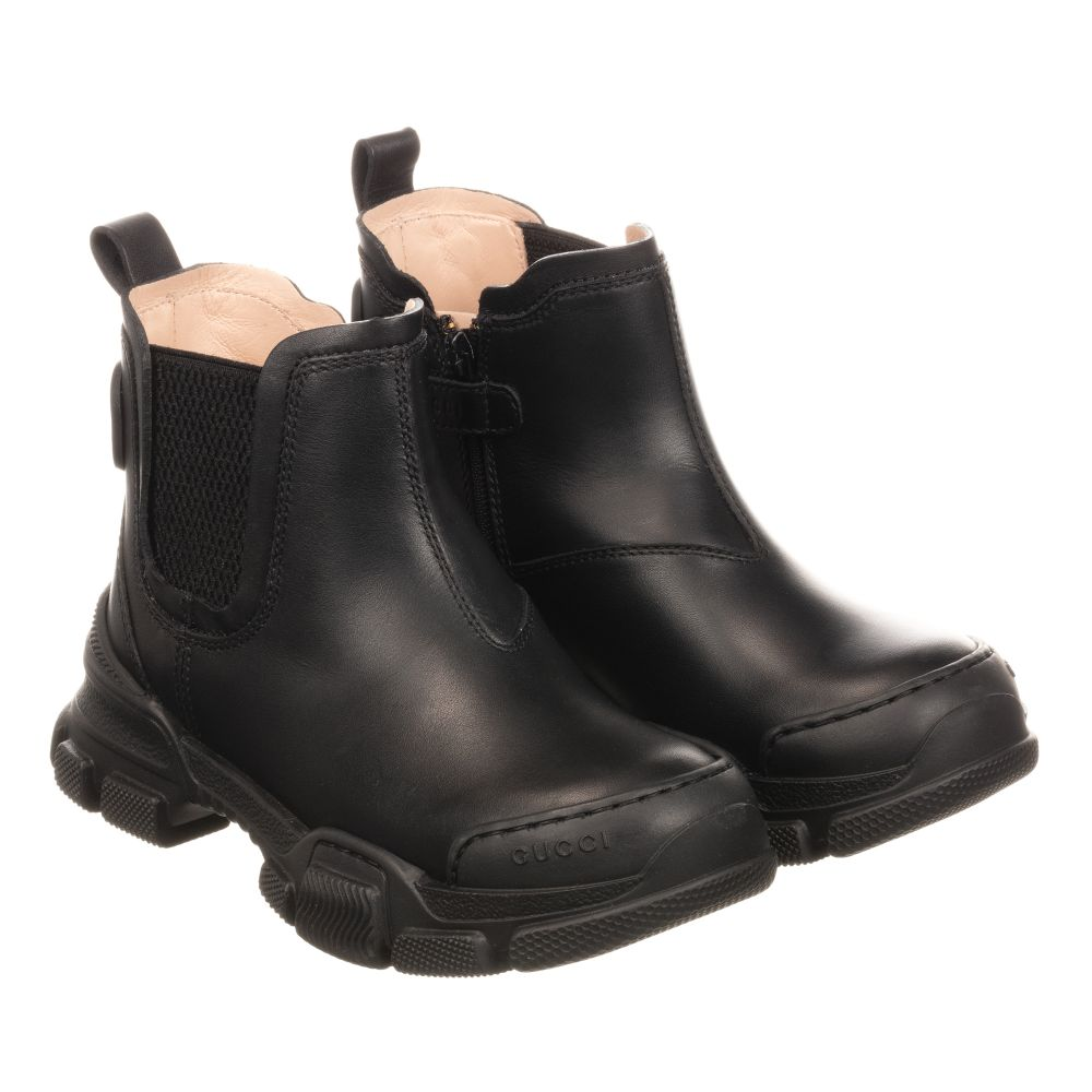 Gucci - Chunky Black Leather Boots