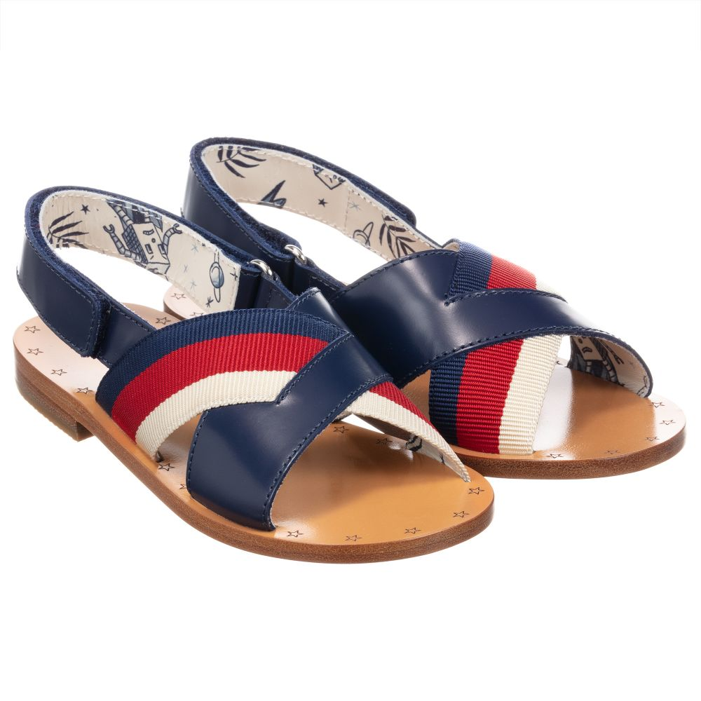 Gucci - Girls Blue Leather Sandals