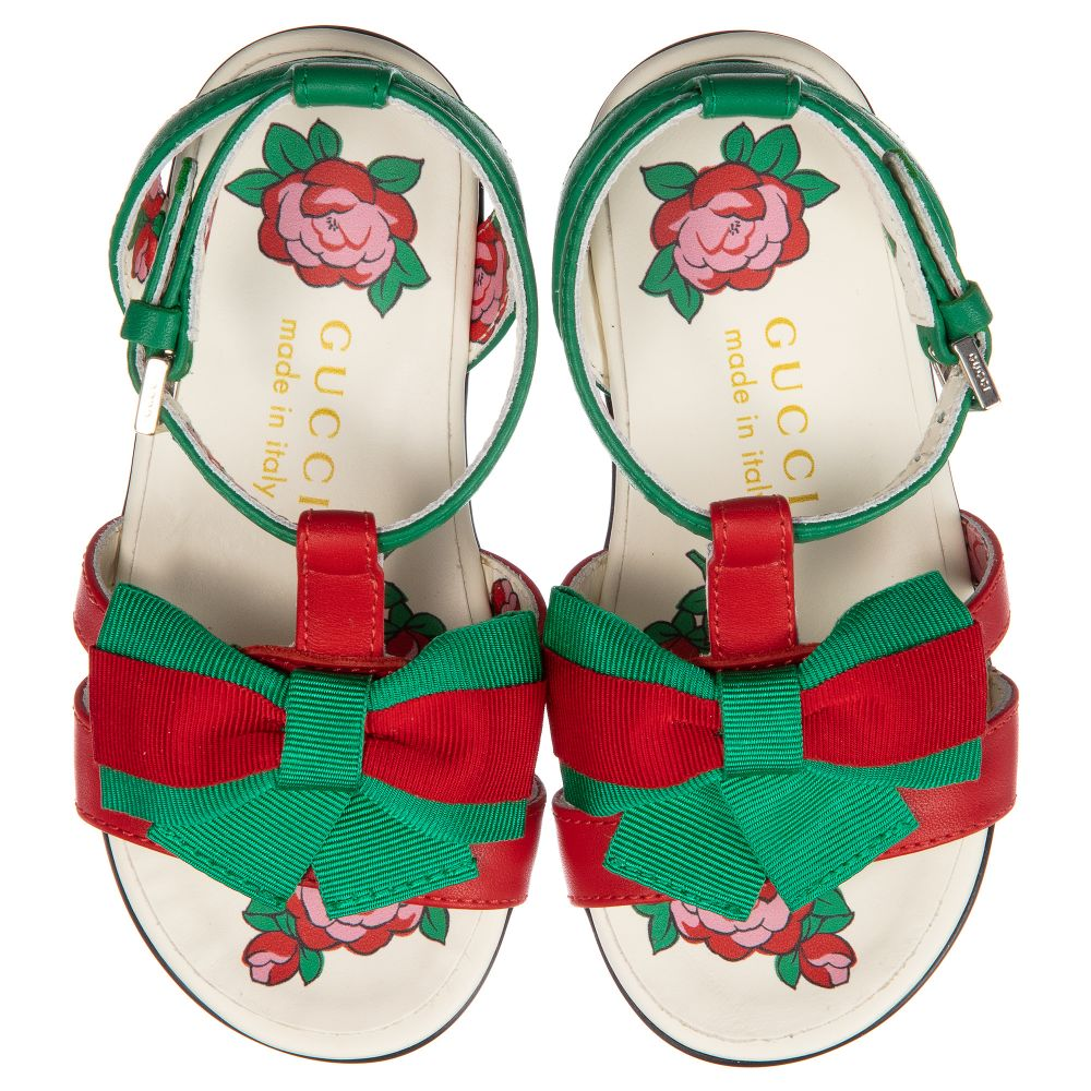 3daedab3a Gucci - Girls Green Leather Sandals | Childrensalon