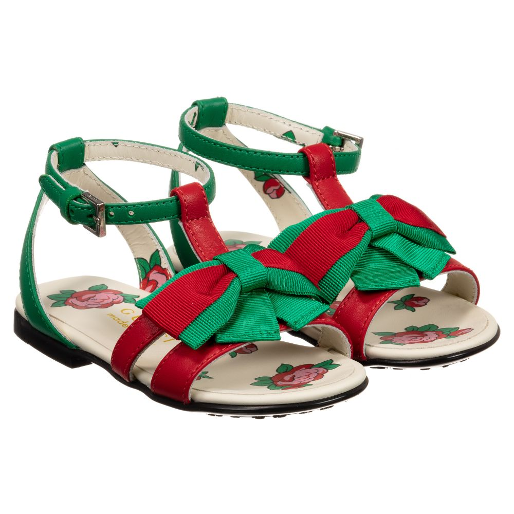 Gucci - Girls Green Leather Sandals