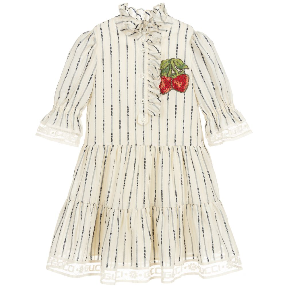 67d4e7807 Gucci - Girls Ivory Cotton Logo Dress | Childrensalon