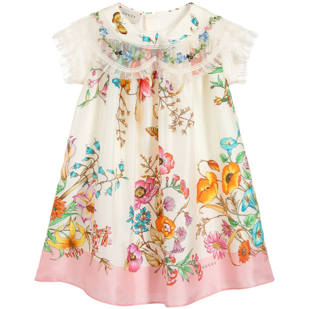 c0e73e482 Gucci - Girls Ivory Silk Dress | Childrensalon