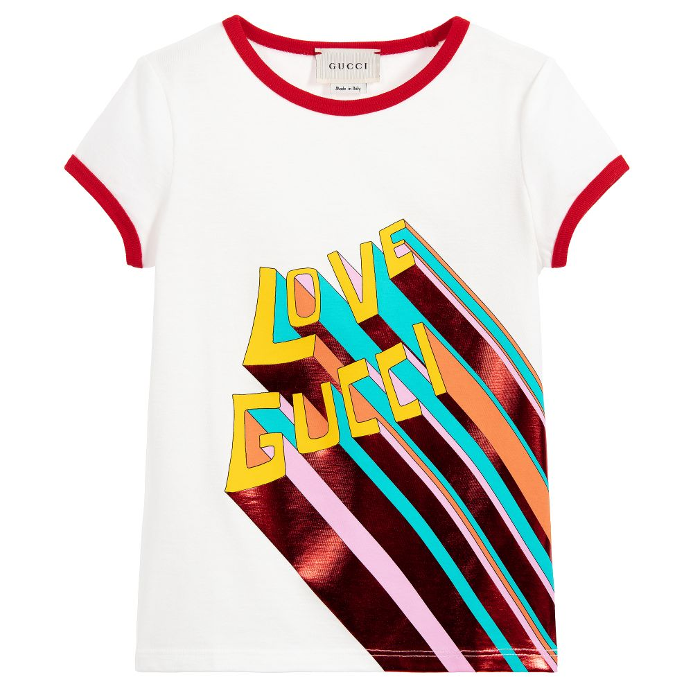 0defbbaf9a43 Gucci - Girls White Cotton T-Shirt | Childrensalon