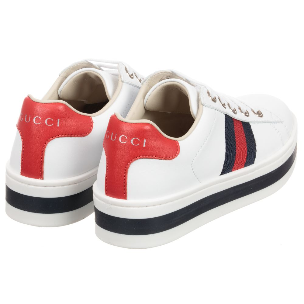 Gucci - Girls White Leather Trainers