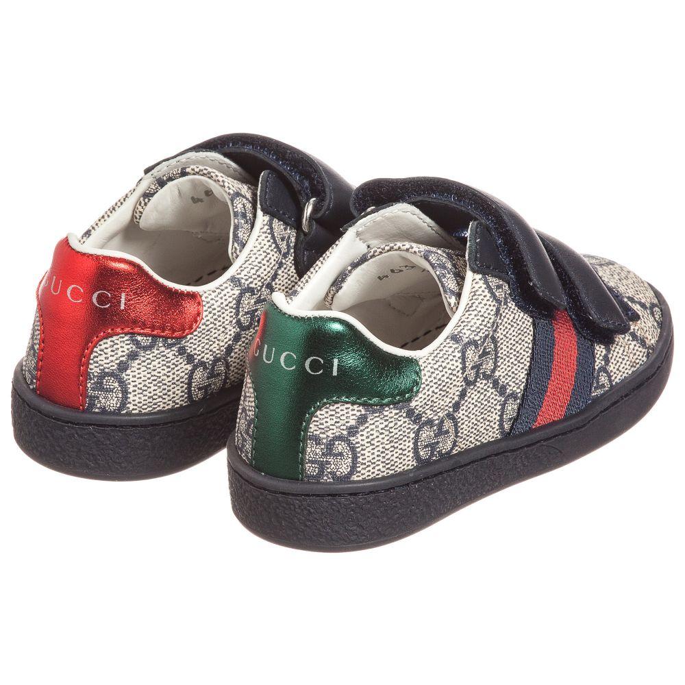 2c2425c81 Gucci - Grey & Blue GG Canvas Trainers | Childrensalon