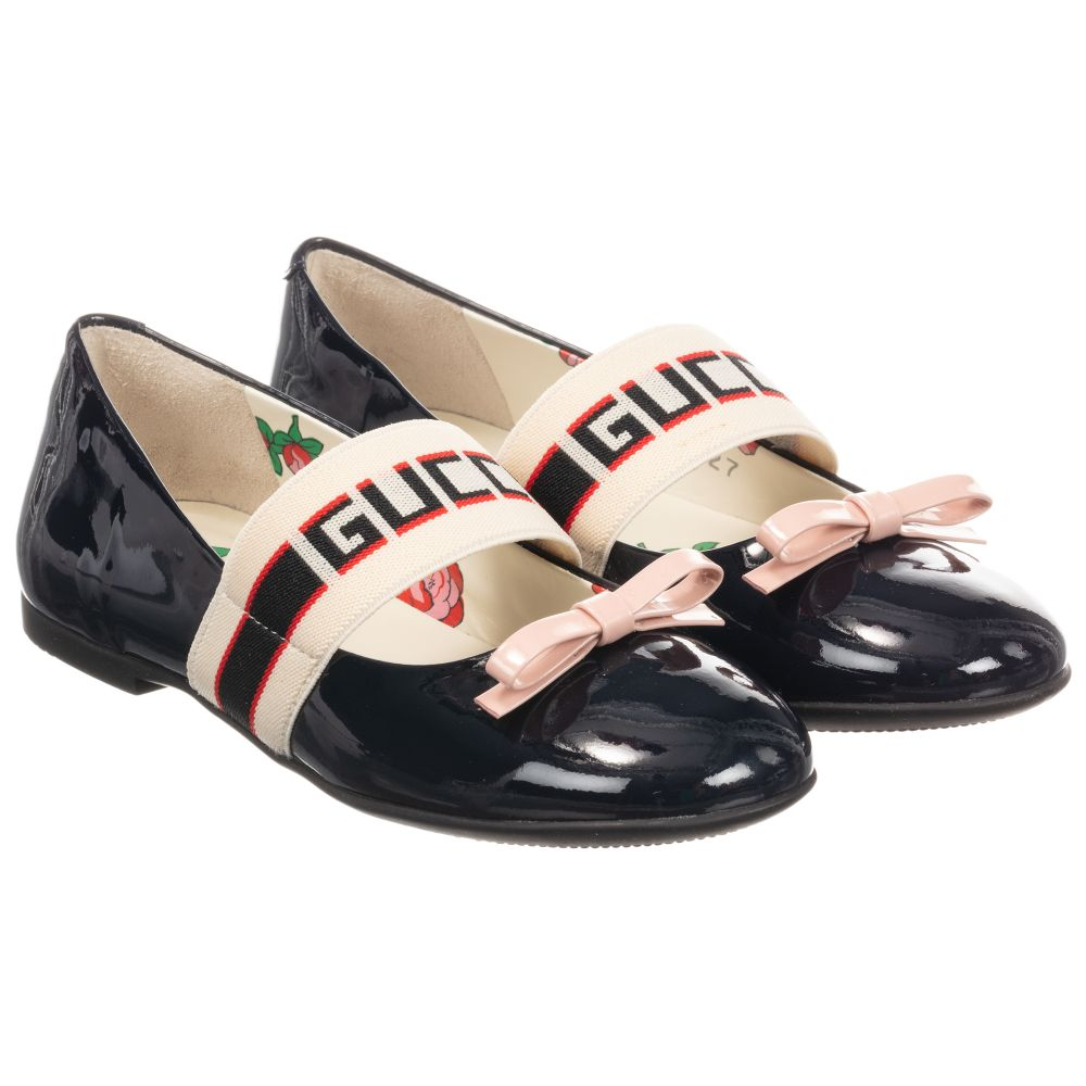 Gucci - Navy Blue Leather Mimi Shoes