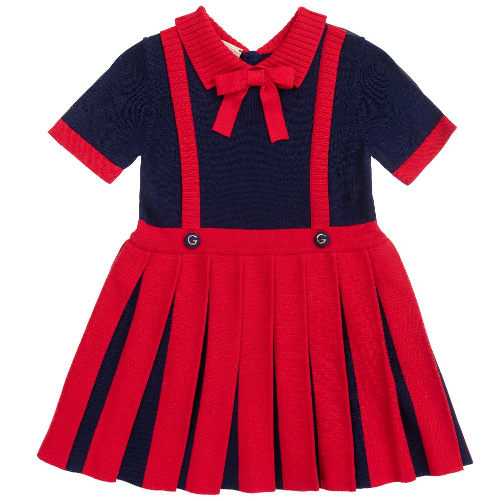 Red Blue Pleated Dress