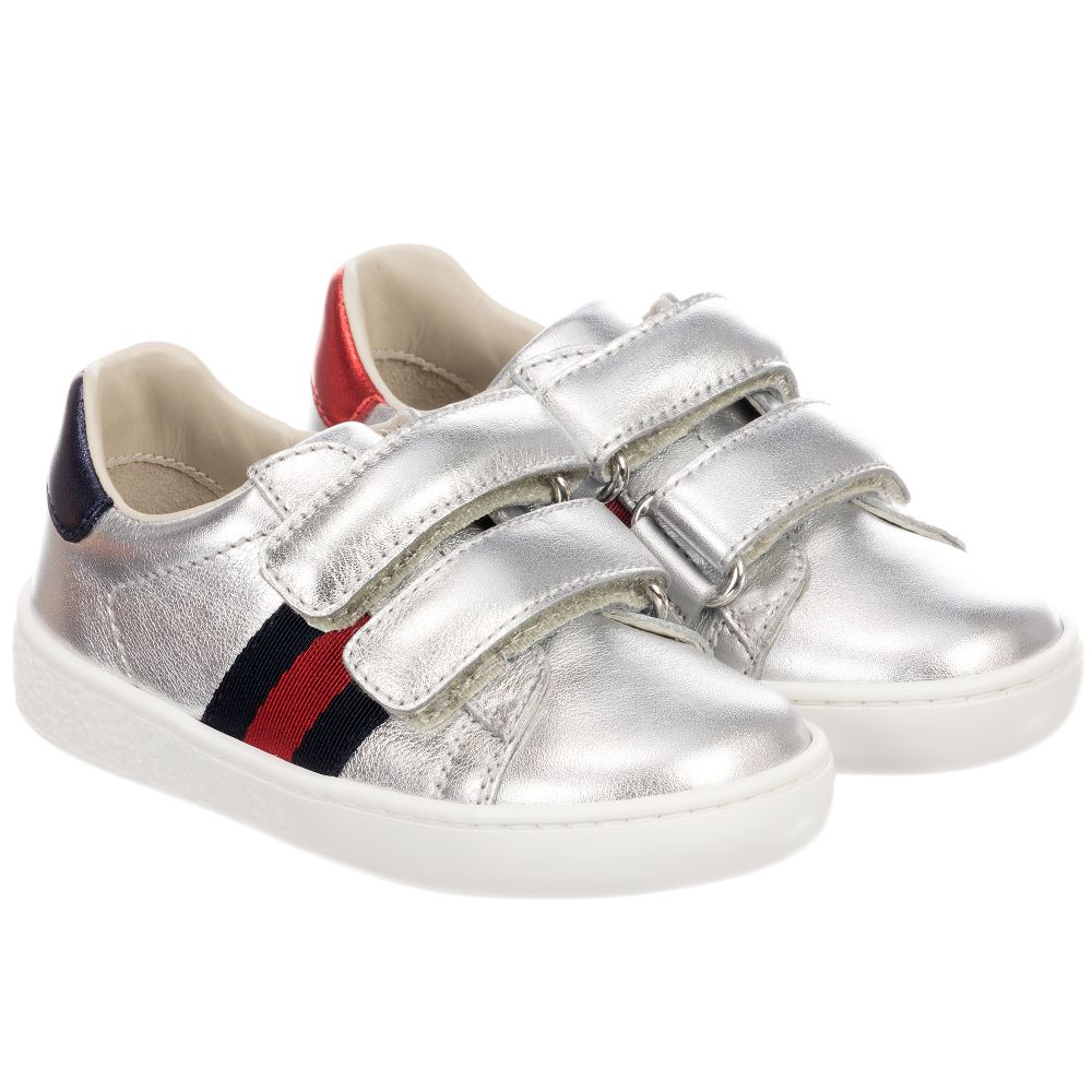 Gucci - Silver Leather Trainers